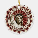 Right Wing Extremist Double-Sided Ceramic Round Christmas Ornament