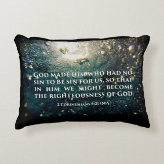 Righteous of God 2 Corinthians 5:21 Scripture Art Accent Pillow