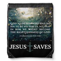 Righteous of God 2 Corinthians 5:21 Scripture Art Drawstring Bag