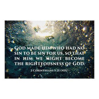 Righteous of God 2 Corinthians 5:21 Scripture Art Flyer