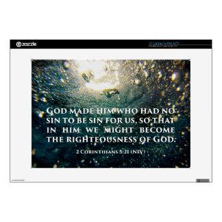 Righteous of God 2 Corinthians 5:21 Scripture Art Laptop Decals