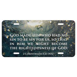 Righteous of God 2 Corinthians 5:21 Scripture Art License Plate