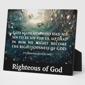 Righteous of God 2 Corinthians 5:21 Scripture Art Plaque