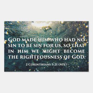 Righteous of God 2 Corinthians 5:21 Scripture Art Rectangular Sticker