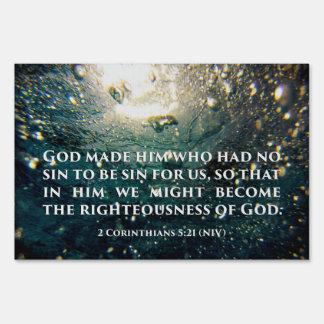 Righteous of God 2 Corinthians 5:21 Scripture Art Sign