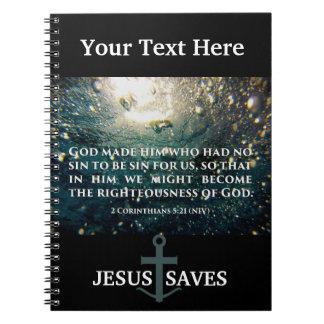 Righteous of God 2 Corinthians 5:21 Scripture Art Spiral Notebook