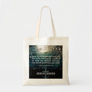 Righteous of God 2 Corinthians 5:21 Scripture Art Tote Bag