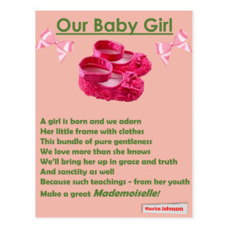 RIGHTEOUS RHYMES - Our Baby Girl - Postcard