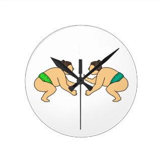 Rikishi Sumo Wrestler Face Off Mono Line Round Clock