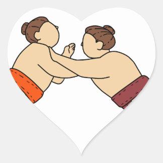Rikishi Sumo Wrestler Pushing Side Mono Line Heart Sticker