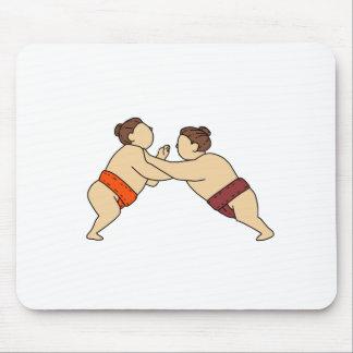 Rikishi Sumo Wrestler Pushing Side Mono Line Mouse Pad