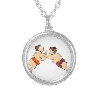 Rikishi Sumo Wrestler Pushing Side Mono Line Silver Plated Necklace