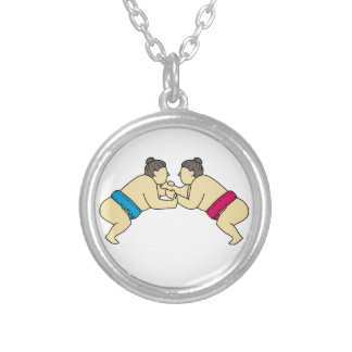 Rikishi Sumo Wrestlers Wrestling Side Mono Line Silver Plated Necklace