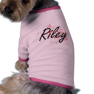 Riley Artistic Name Design with Hearts Pet Tee Shirt
