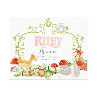 Riley Top 100 Baby Names Girls Newborn Nursery Stretched Canvas Print
