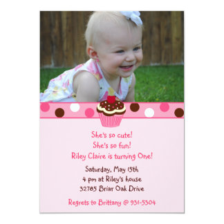 Riley's Custom Cupcake Birthday Invitations