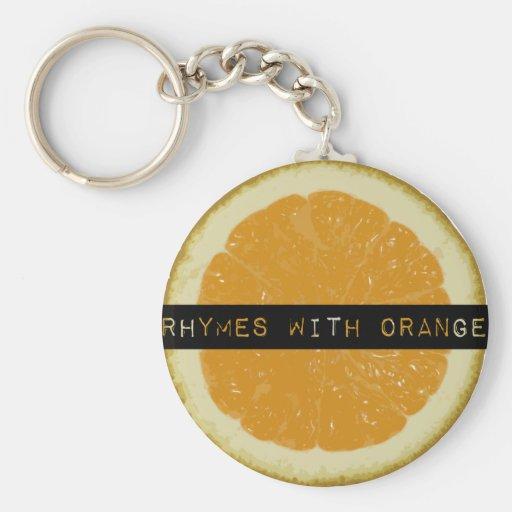 Rimas con llavero anaranjado