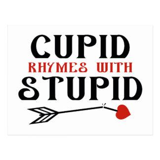 Rimas del Cupid con estúpido Tarjeta Postal