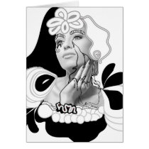 artsprojekt, diva, woman, girl, female, portrait, illustration, rimmel, cosmetics, collage, hairstyle, fashion, hair, stylist, modern, young, teen, saloon, beauty, design, black, white, minimalism, women, naive, stylists, salon, hairstylists, dresser, photomontage, line, ink, drawing, exotic, makeup, contemporay, Card with custom graphic design
