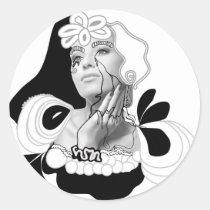 artsprojekt,rimmel,woman,female,cosmetics,collage,make,black,white,makeup,diva,fashion,beauty,girl,photomontage,illustration,line,ink,drawing,exotic,modern,contemporay,decor,home,salon, Sticker with custom graphic design