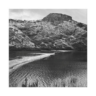Rimrock over Icy Lake Black and White Landscape Canvas Print