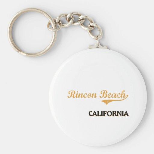 Rincon Beach California Classic Basic Round Button Keychain