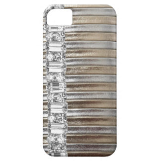 Rinestones Silver & Gold  faux Leather IPHONE CASE iPhone 5 Case