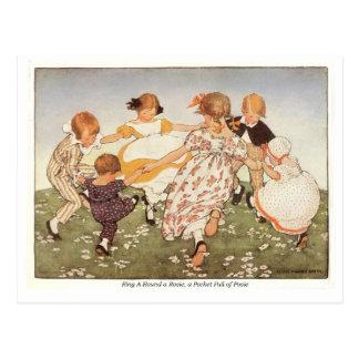 Ring A-Round a Rosie Nursery Rhyme - Postcard