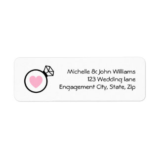 Ring and heart modern wedding return address label