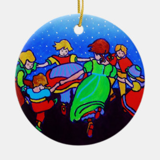 Ring Around the Rosie two Ceramic Ornament