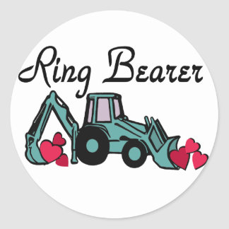 Ring Bearer Backhoe Classic Round Sticker