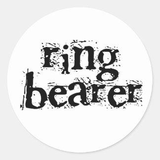 Ring Bearer Black Text Classic Round Sticker