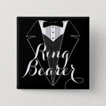 Ring Bearer Black Tux Wedding Party Button