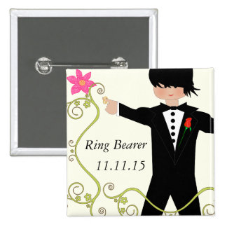 Ring Bearer  BowTie Wedding Badges 2 Inch Square Button