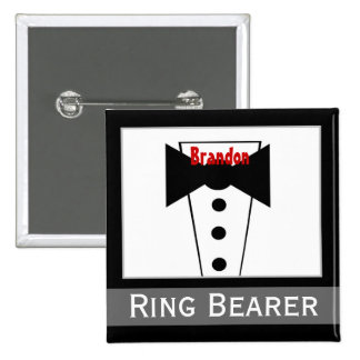 Ring Bearer -  Custom Name Tux Wedding Button