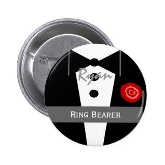 RING BEARER Custom Name Tux Wedding Buttons