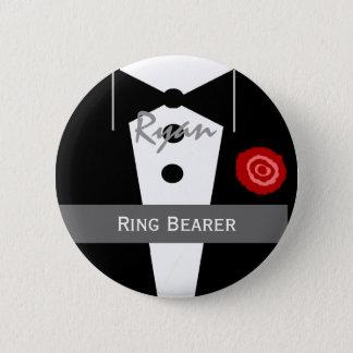 RING BEARER Custom Name Tux Wedding Pinback Button