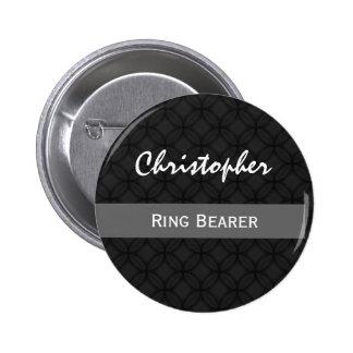 RING BEARER Custom Name Wedding Black and White Pinback Buttons