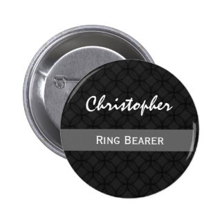 RING BEARER Custom Name Wedding Black and White Pinback Button