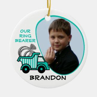 Ring Bearer Dump Truck Photo Ceramic Ornament