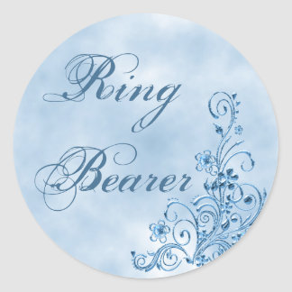 Ring Bearer Envelope Seals: Sky Blue Elegance Classic Round Sticker
