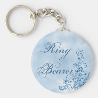 Ring Bearer Keychain: Sky Blue Elegance Basic Round Button Keychain