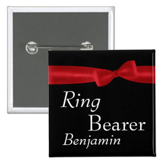 RING BEARER Red Bow Wedding Custom Name 2 Inch Square Button