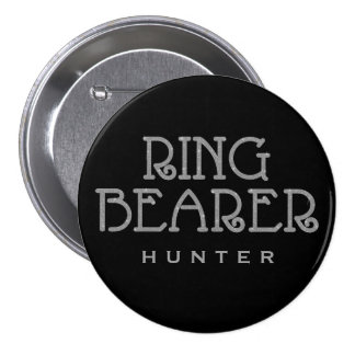 Ring Bearer Silver Faux Glitter Name Tag Button
