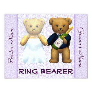 Ring Bearer - Teddy Bears lilac Wedding Invite