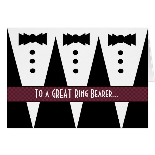 RING BEARER Thank You - Three Tuxedos Cards