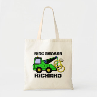 Ring Bearer Tow Truck Green Tote Bag