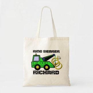 Ring Bearer Tow Truck Green Tote Bag