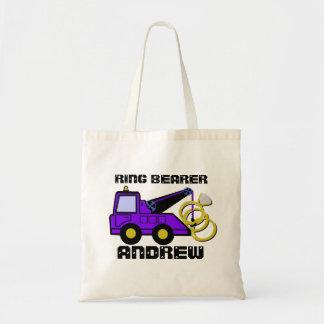 Ring Bearer Tow Truck Purple Canvas Bag