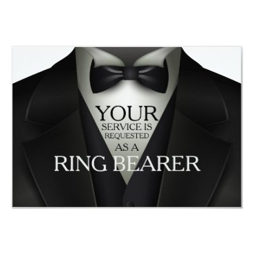 Wedding Themed Ring Bearer Tuxedo Wedding Party Request Card